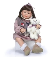 soft silicone reborn babies girl dolls dressed gray plush clothes 70cm realistic lifelike model baby toy christmas bebe gift
