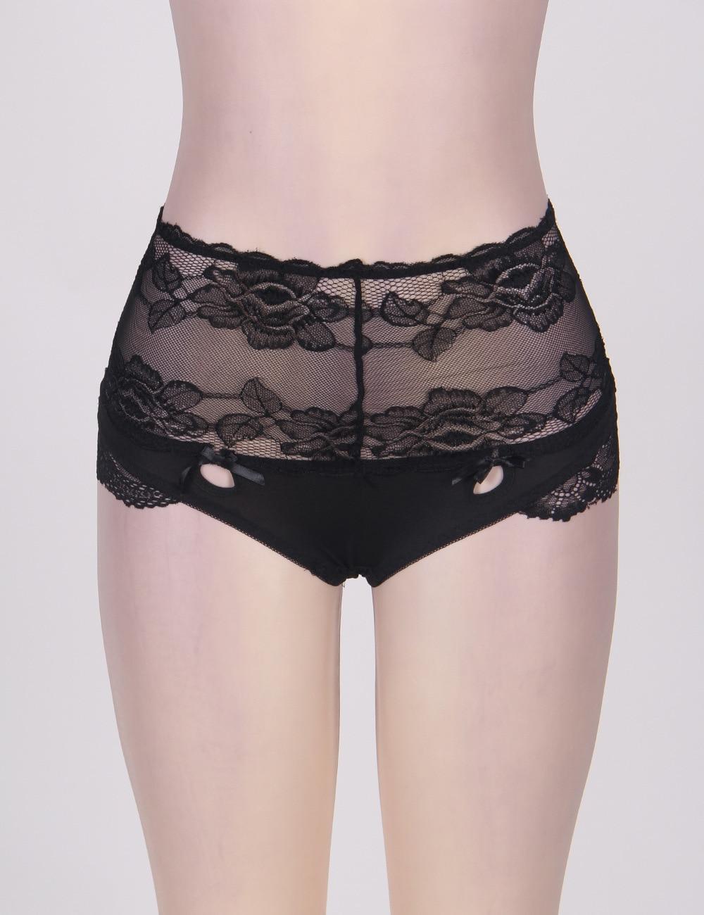 Hot Plus Size Open Crotch Lace Panties Underwear High Waist Thongs Lady Panty Tangas Bandage Transparent Lingerie briefs Women