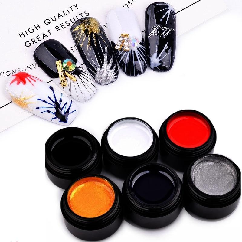 1 caja de 5ml de Gel para uñas de arte tirando araña pintura de líneas laca barniz tirando de esmalte de uñas de Gel uv manicura decoración herramienta
