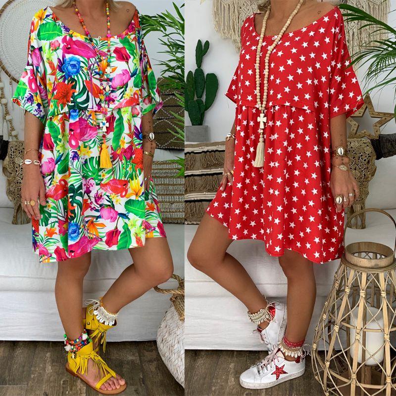 2021 Trend Women Plus Size O Neck Retro Boho Short Sleeve Summer Beach Casual Tops Shirt Mini Dress S M L XL 2XL 3XL 4XL 5XL
