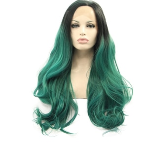 Sylvia Green Synthetic Lace Front Wigs With Dark Roots Body Wave Middle Part Long Heat Resistant Fiber Hair For Women