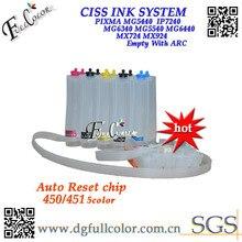 Ücretsiz kargo 450 451 CISS Mürekkep Sistemi ile ARC Çip Canon PIXMA MG5440 IP7240 MG6340 MG5540 MG6440 MX724 MX924 yazıcı