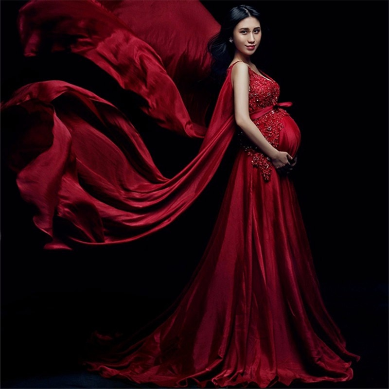 Pregnancy Wedding Dress Fancy Photo Shoot Clothing V-Neck Red Maternity Pregnant Photography Props Gown Canonicals