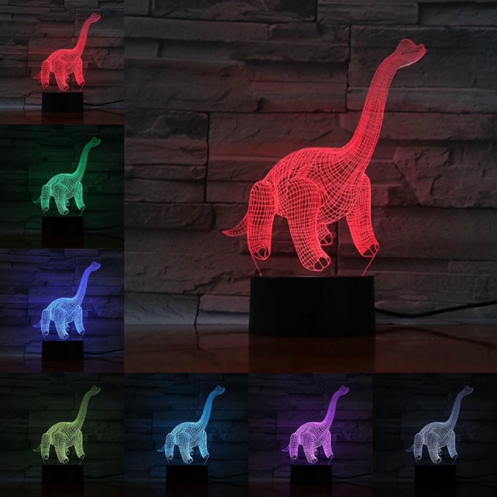 Novedad lámpara de noche 3D de dinosaurio, lámpara de mesa, regalo para niños, decoración de cabecera, regalo de cumpleaños, regalo de Navidad, Animal de juguete LED RGB