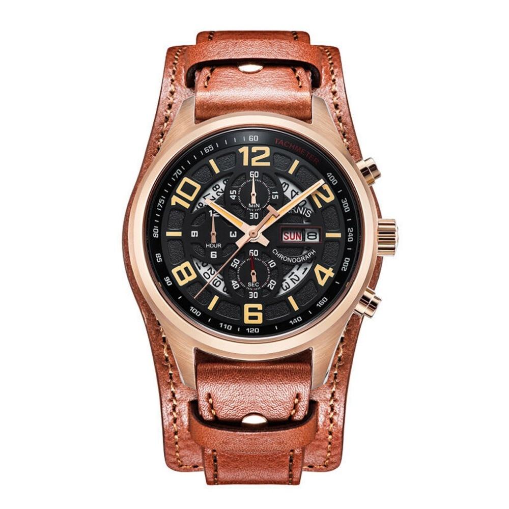 Piloto parnis V Serier luminoso reloj de pulsera de cuero para hombre Deporte Militar cronógrafo reloj de cuarzo reloj de pulsera con estática de segunda mano