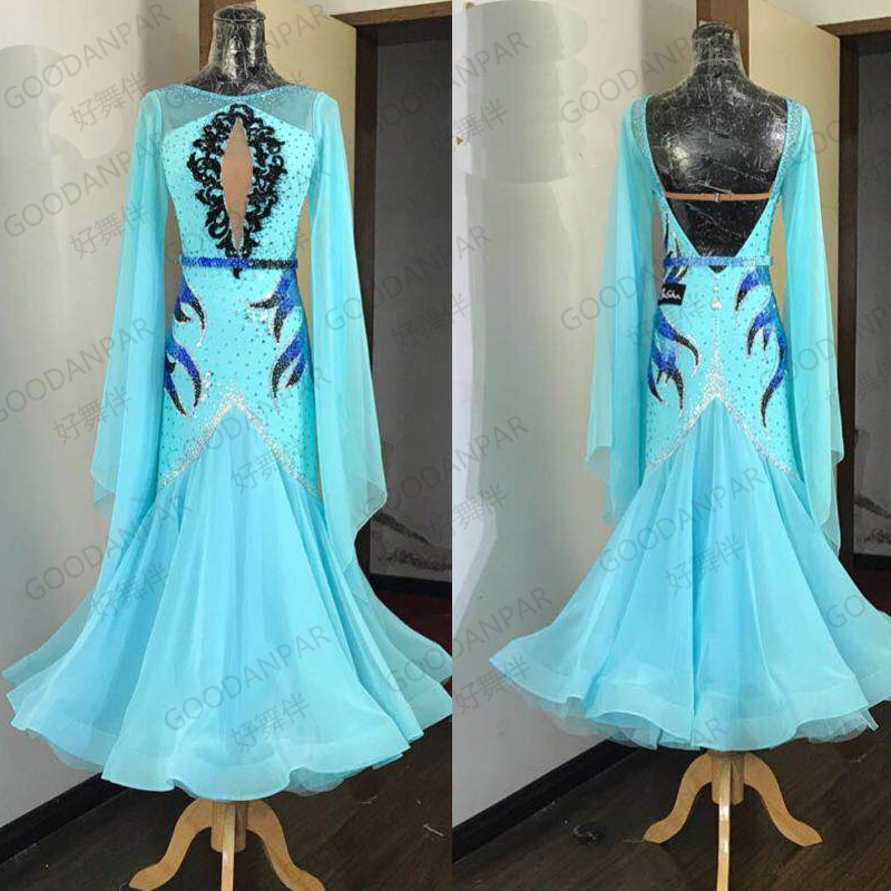 GOODANPAR nuevas mujeres estándar vestidos de competición de baile de salón Lycra Tango Watlz vestido azul de manga larga de salón falda de mujer
