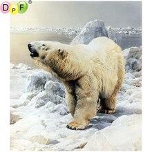 DPF ours polaire 5D bricolage   kit de mosaïque de diamant carré déco de maison, broderie de diamant peinture en diamant, point de croix artisanat