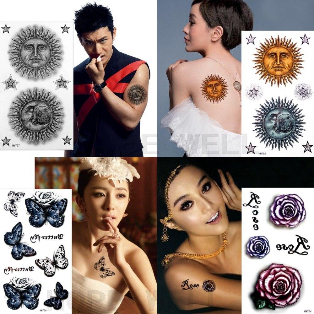 4 hojas tótem solar Negro Azul Rosa letras 3D mariposa tatuaje temporal pegatina brazo tatuaje para arte corporal mujeres hombres vacaciones 4 modelos