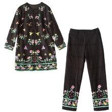Haut de gamme automne femmes 2 pièces ensemble vintage broderie florale manteau ample hauts + coton pantalon élégant dame costume femme M-XXL