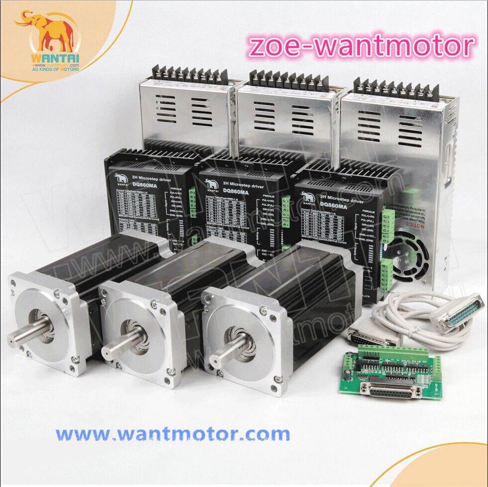 CNC Wantai 3 оси Nema 34 шаговый двигатель, двойной вал 85BYGH450C-012B 1600 унций 3.5A + Драйвер DQ860MA 50V 4.2A ROHS CE ISO