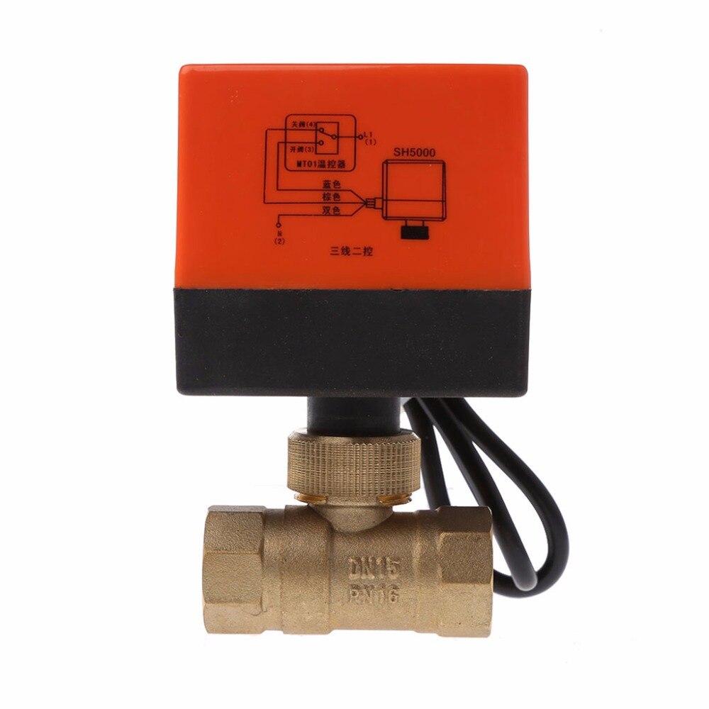 Dn15/dn20/dn25 elétrica motorizada bronze válvula de esfera dn20 ac 220 v 2 maneira 3-fio com atuador