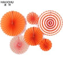 HAOCHU-ensemble de 6 pièces/ensemble déventail de papier Orange pour thème mariage, roues à pincer suspendues, fleurs, artisanat en papier bricolage, affichage fenêtre, décorations de maison