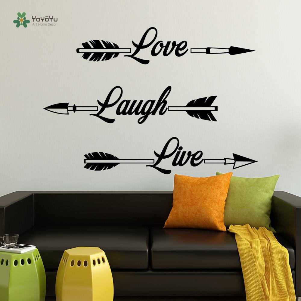 YOYOYU Wall Decal Vinyl Bedroom Decoration Arrow Wall Decor Love Laugh Live Poster Rustic Sticker YO096
