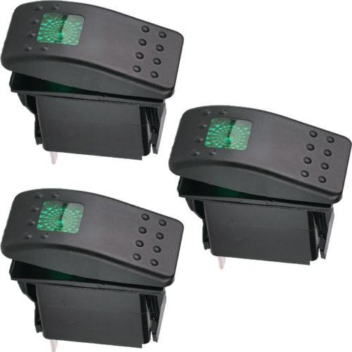3 X Barco Campo A Través Del Coche 12 V 20A Bar Rocker Toggle Switch 3 Pin Luz LED Verde