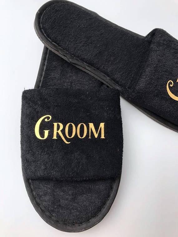 custom black wedding honeymoon bride groom spa slippers day groomsman bridesman hen night Bachelorette party favors gifts