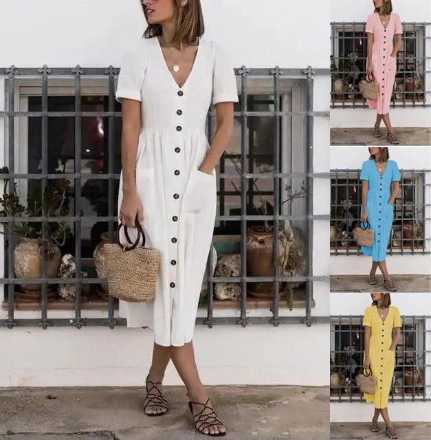 Vestido veraniego de lino y algodón 2019 para mujer, vestido Vintage sensual a la moda, vestido veraniego con bolsillos y botones en rojo y blanco, vestido femenino S-3XL
