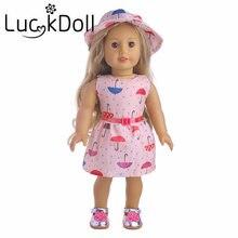 Lucky doll imprimer robe chapeau et ceinture Fit 18 pouces American 43 cm BabyDoll vêtements accessoires, filles jouets, génération, cadeau danniversaire