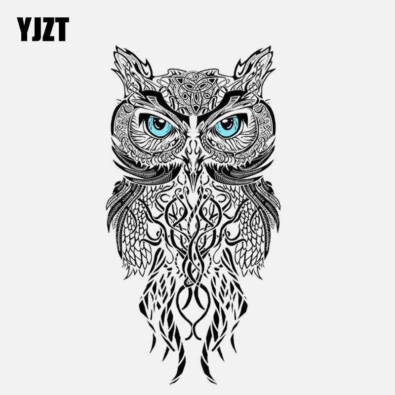 YJZT 8.3CM*15.3CM Creative Blue Eye Owl PVC Motorcycle Car Sticker 11-01352
