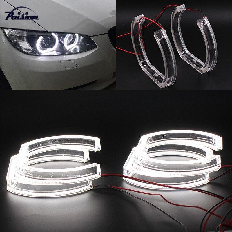 7000K Xenon blanco fondo cuadrado LED Ojos de Ángel Halo anillos con cubiertas de acrílico de cristal para BMW E90 E92 F30 Readaptación de faros