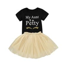 2019 niño niños bebé Niñas Ropa de verano de manga corta negro carta de mi tía camiseta tutú falda prenda de vestuario 2 uds trajes