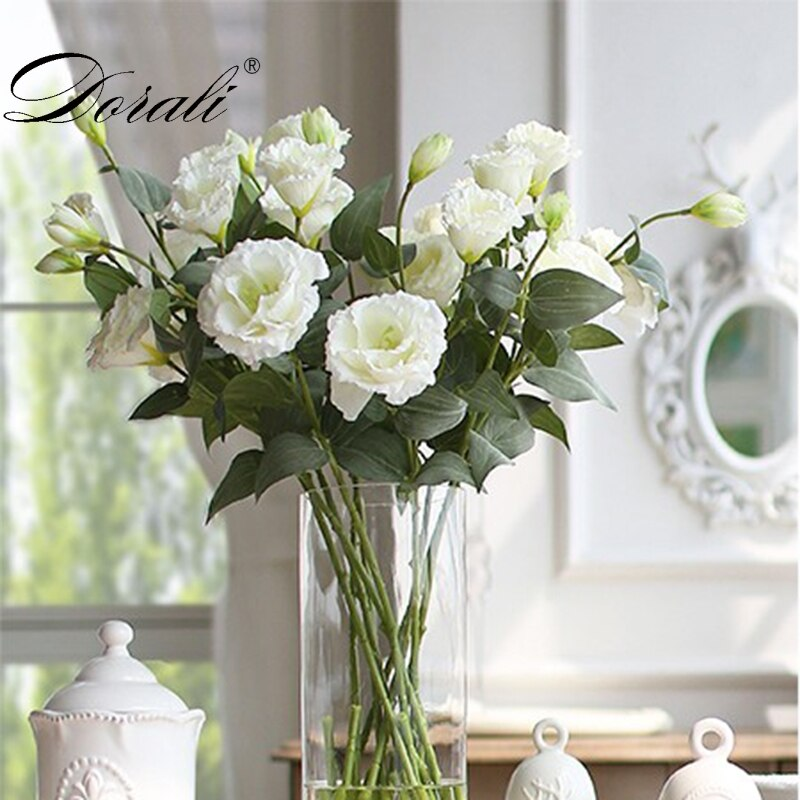 Silk European Artificial Flowers 3 Heads Fake Eustoma Gradiflorus Lisianthus Christmas Wedding Party Home Decorative 5 Colours