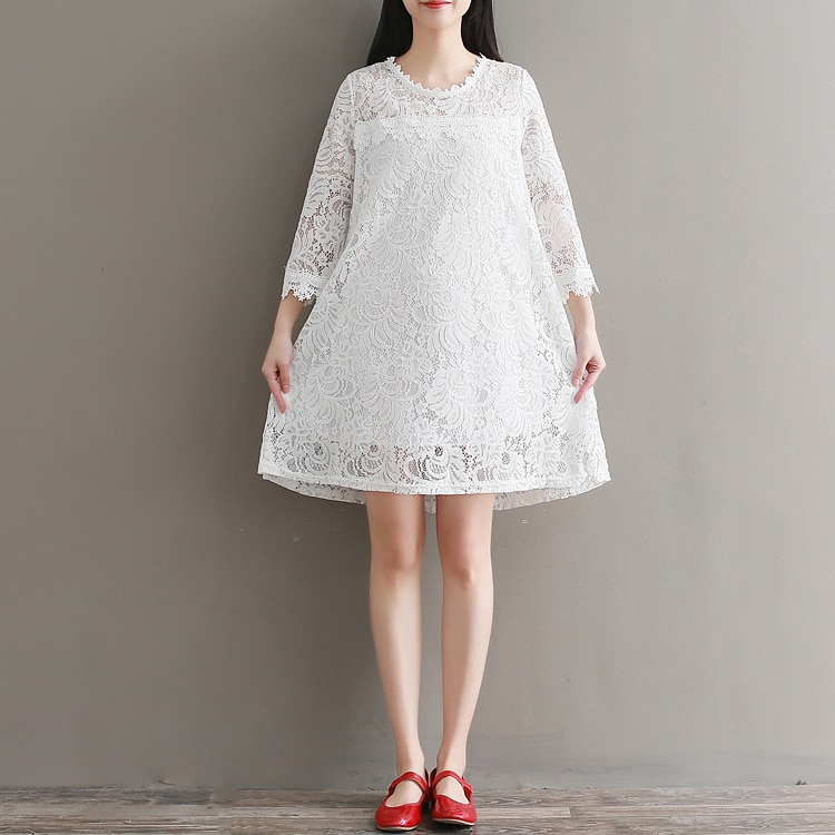 Primavera otoño tres cuartos vestido de encaje blanco nueva moda sexy vestido...