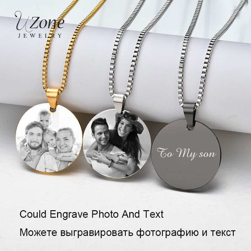 UZone Gold Black Steel Customized Necklace Stainless ID Tag Laser Engraved Name&photo Personalized Jewelry