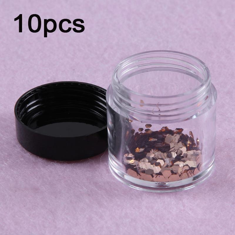 Caja de almacenamiento para tarros cosméticos, 10 Uds., bote de plástico transparente para decoración de uñas artísticas