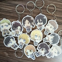 12 pièces/ensemble porte-clés Anime Shingeki no Kyojin attaque sur Titan Eren Ackerman Arlert porte-clés porte-clés pendentif De Llaveros