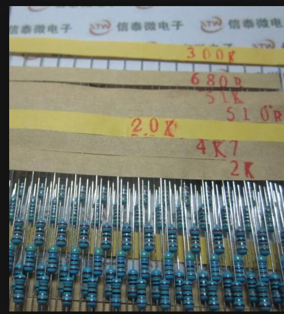 Set 600 Uds 30 Tipo 1/4W resistencia 1% Resistor de película metálica Kit surtido cada 20 para arduino