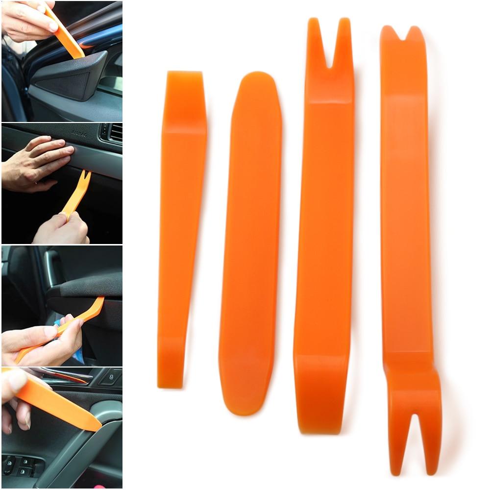 4 piezas buen uso Kit de desmontaje Interior de coche eliminación de Audio embellecedor de Panel de salpicadero coche DVD Player Herramienta de extracción de embellecedor automático