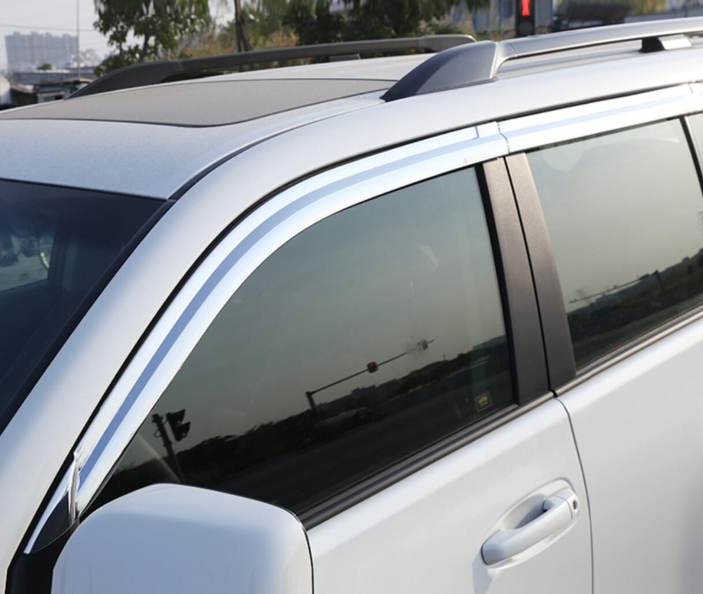 ABS Chrome plastic Window Visor Vent Shades Sun Rain Guard car accessories For Toyota Land Cruiser Prado 2010-2018 car styling
