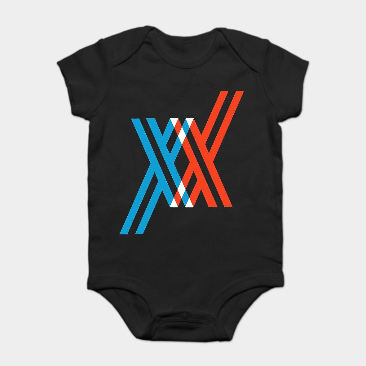 Bebê macacão bebê bodysuits criança t camisa impresso algodão querido no franxx manga curta