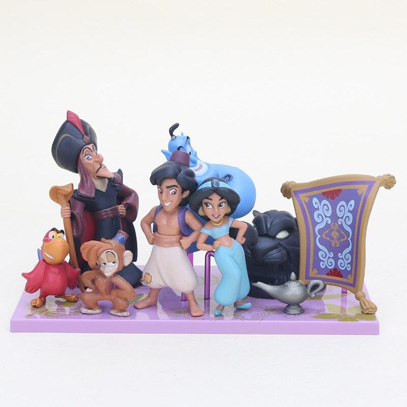 9 unids/set princesa de Aladdin figura de juguete sirena Aladino y su lámpara mono malvado Tigre PVC MODELO DE figura de acción muñecas de juguete
