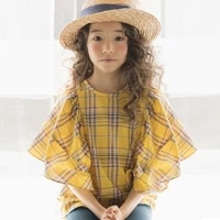 2020 big girls cotton plaid flare sleeve tops tees fashion summer blouse for kids children school blouse korea clothes 4 14 yrs