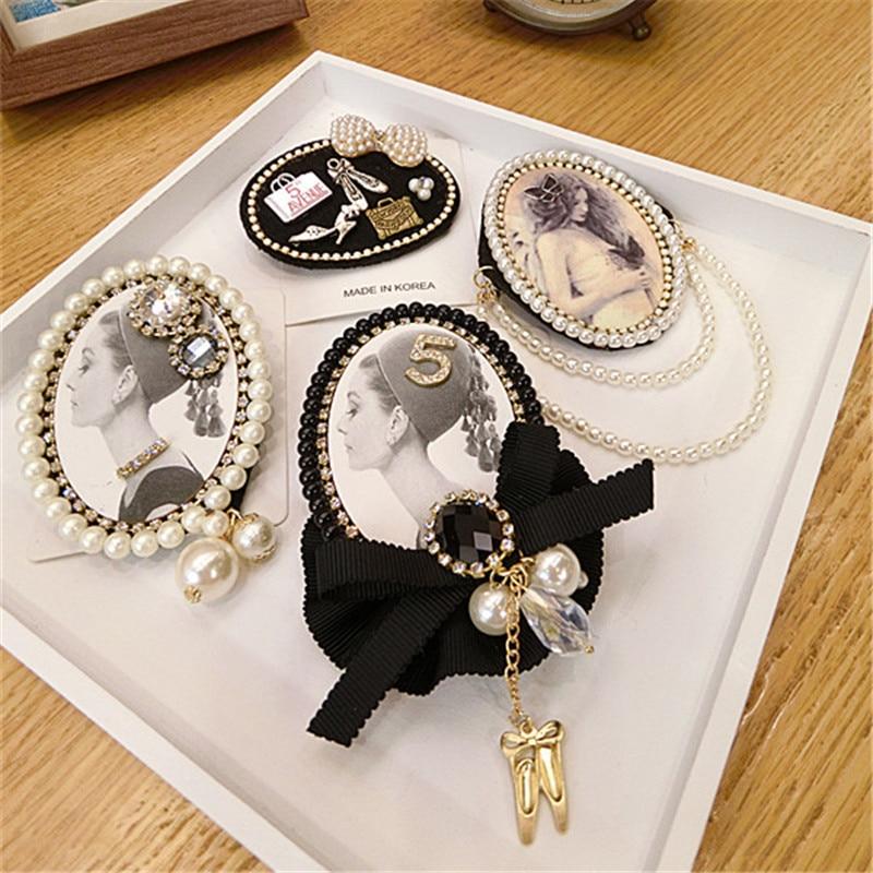 Women Girl Brooch Pins Badge Series Big Metal Pearl Rhinestone Bow Lace Wholesale Coat Korean Handmade Fashion Accessories-SWE