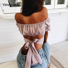 Yimunancy Sommer Bogen Backless Top Frauen Mode Rüschen Off Schulter Tops Damen Sexy Crop Tops Blusas