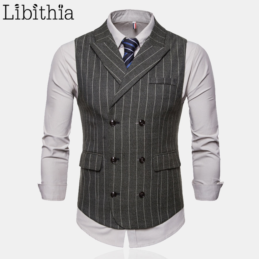 Chaleco Formal a rayas sin mangas para hombre, chaleco de vestir, Chaleco de moda informal de talla grande 4XL, chaleco de traje de lujo verde gris café T196