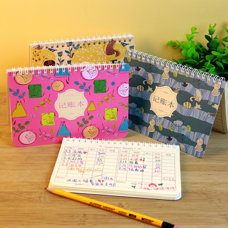 1 pces sr. gato família loose-leaf livro renda e despesas moneybook preguiçoso fluxo de caixa diário