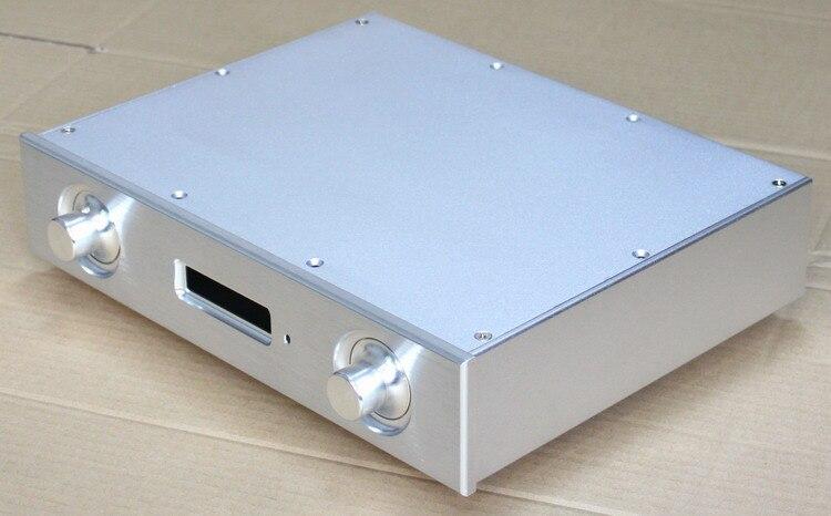 Caja de preamplificador de chasis de decodificador AK4497 DAC de aluminio plateado completo caja DIY