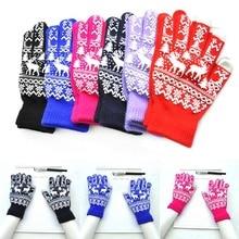 1 Pair Knitting Glove Keep Warm Windproof Anti-slip Christmas Deer For Women Men Winter LXH