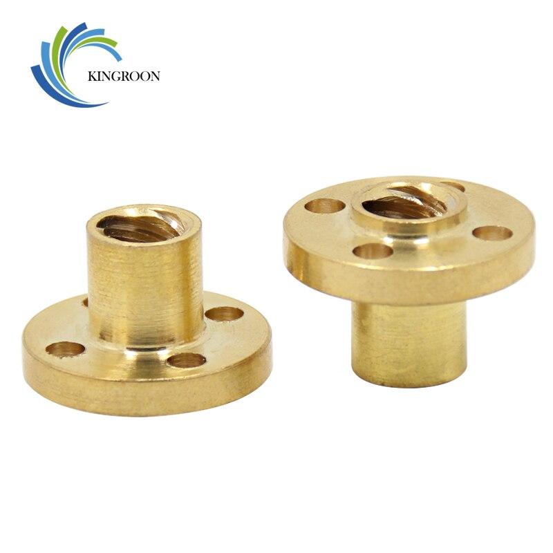 Tuerca de tornillo Trapezoidal T8, tornillos de cobre de 8mm para Motor paso a paso, tornillo de plomo de diámetro, paso de 10mm, 2mm de latón, guía de piezas de impresora 3D