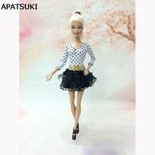 Black White Dot Lace Mini Dress Tutu Dress For Barbie Dolls For 1/6 BJD Doll House Doll Accessories