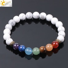 CSJA Rainbow 7 Chakra White Howlite Bracelet for Femme Reiki Healing Mala Tibetan Beads Meditation Balancing Ethnic Bangles E957