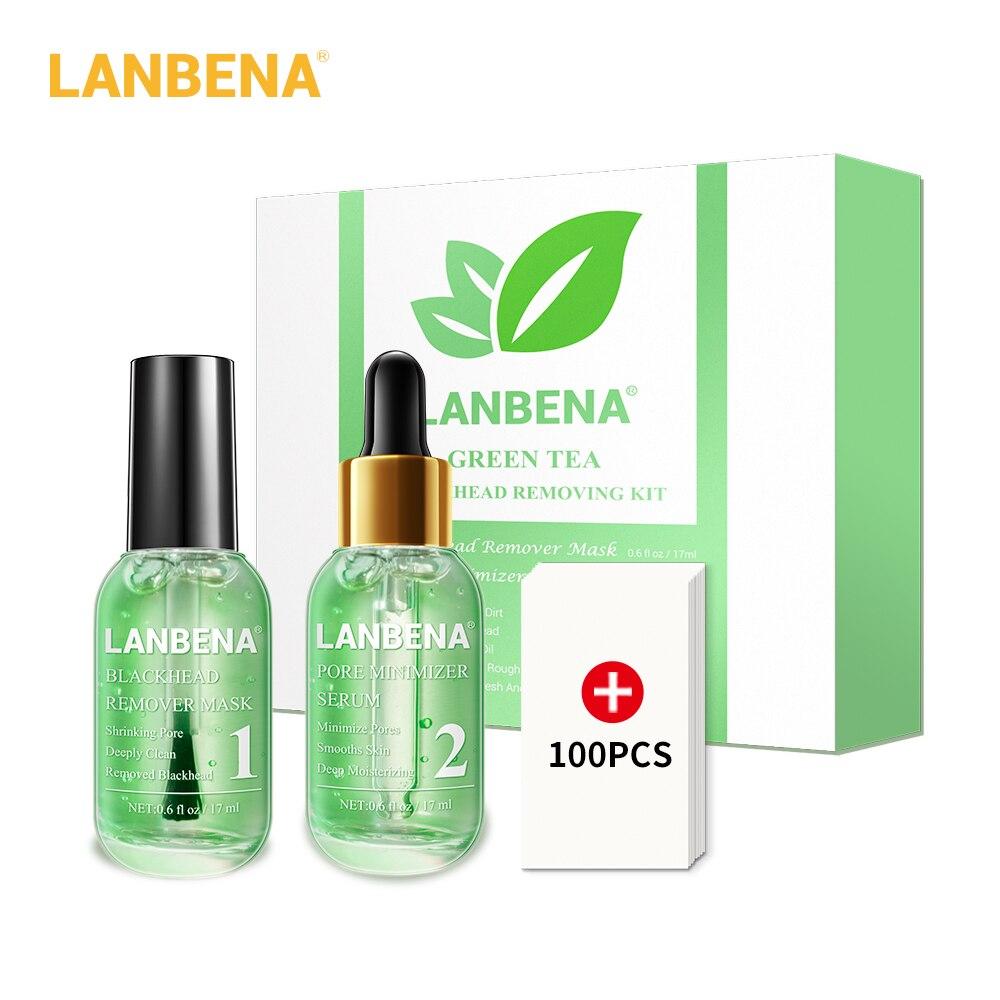 Kit de removedor de espinillas de té verde LANBENA minimizador Limpieza de poros profundos reducción de los poros purificación de la esencia del tratamiento del acné suavizado