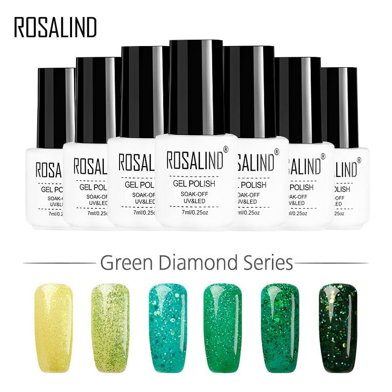 ROSALIND Gel 1S Hot New Green Color Series Diamond Glitter Nail Gel Polish UV LED Gel varnish Acrylic for Manicure Nail Art
