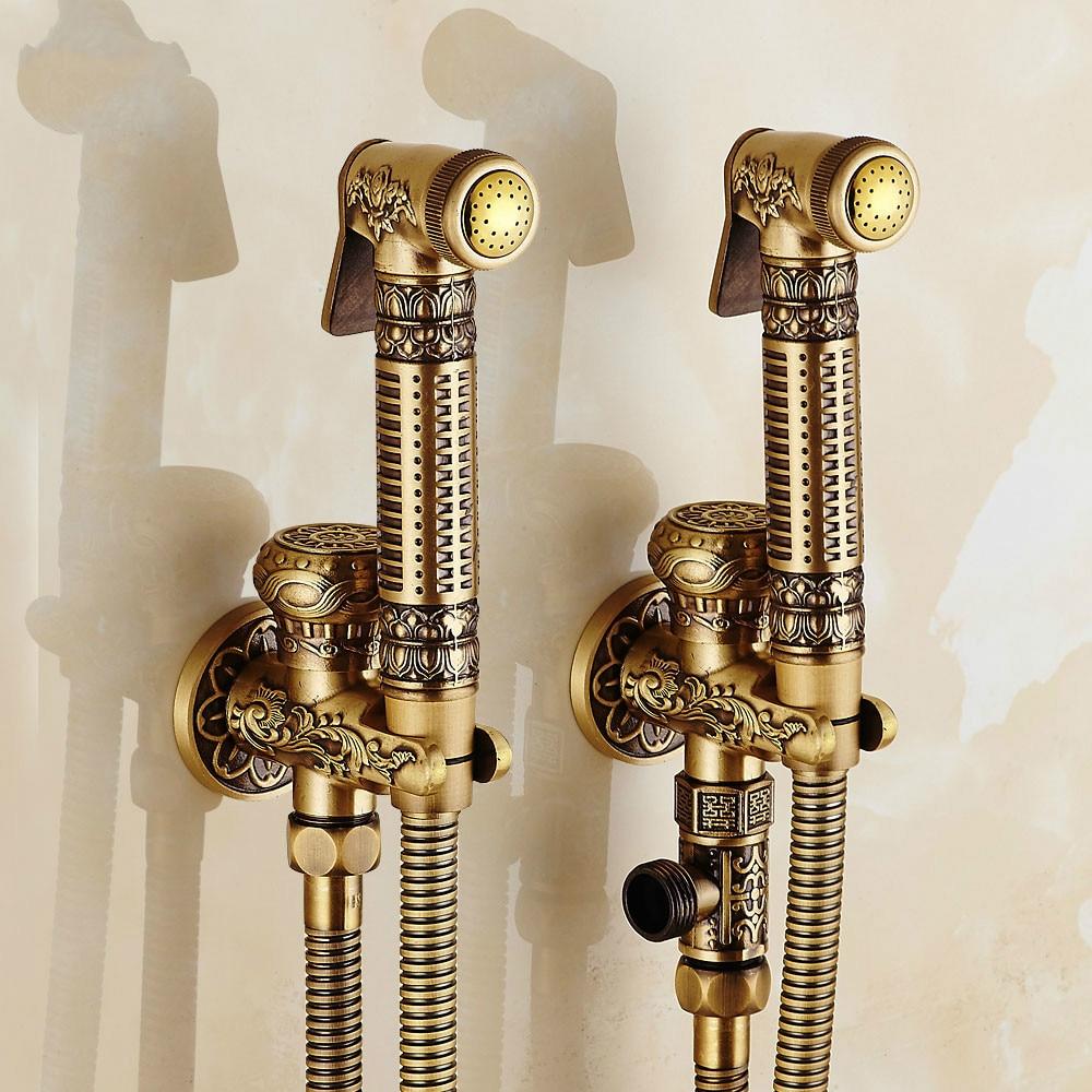 Bad Bidet Armaturen Handheld Antike Pinsel Wand Montiert Massivem Messing Wc Reinigung Bidet Spray Wasserhähne ZR230