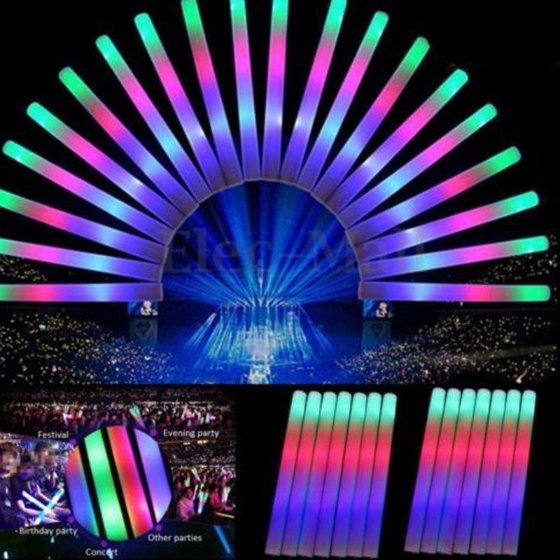 30pcs Multi Color LED Foam Glow Stick Fluorescent Light Sticks For Concert Event Glow Party Supplies Wholesale A3