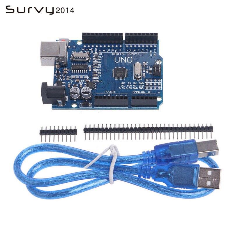 Alta qualidade um conjunto uno r3 mega328p para arduino uno r3 + cabo usb placa de desenvolvimento ATMEGA328P-AU