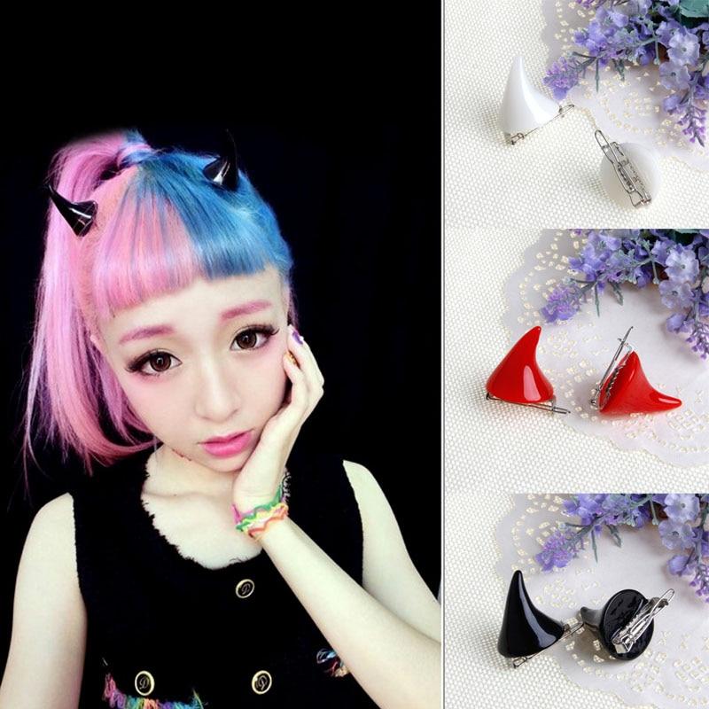 10 Uds mujeres Chic Halloween estéreo cuernos de diablo orejas clip horquilla para el pelo barrettes